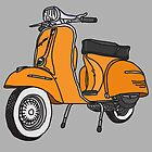 Vespa Illustration - Orange by thyearlofgrey