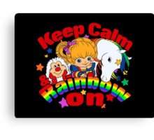 Keep Calm and Rainbow On (Dark) Canvas Print
