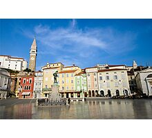Tartini square in Piran, Slovenia Photographic Print