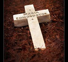 """"""" Fallen Cross on a mound of Pine Needles """" Graveyard Adornments #38 by Malcolm Heberle"""