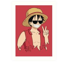 """ONE PIECE: """"The Cool Captain"""" Luffy In Shades Art Print"""