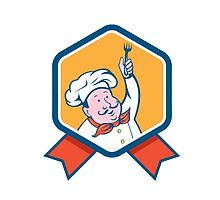 Chef Cook Holding Fork Ribbon Cartoon by patrimonio