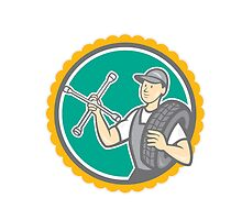 Mechanic With Tire Wrench Rosette Cartoon by patrimonio