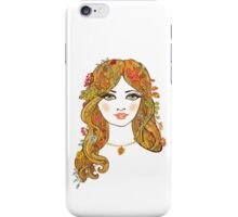 Lovely girl face with curly hair and autumn leaves iPhone Case/Skin