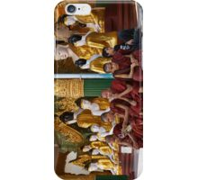 faithful Buddhist monks sitting around Buddha Statues in SHWEDAGON PAGODA iPhone Case/Skin