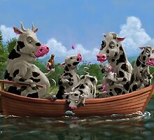 Cartoon Cow Family on Boating Holiday by martyee