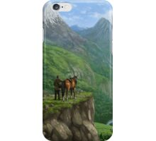 Traveller in landscape with distant Castle iPhone Case/Skin