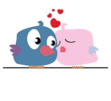 Two cartoon birds kissing by berlinrob