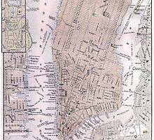 Vintage Map of New York City (1884) by BravuraMedia