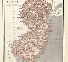 Vintage Map of New Jersey (1845) by BravuraMedia
