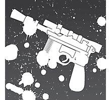 Han Solo Blaster Paint Splatter (White) Photographic Print