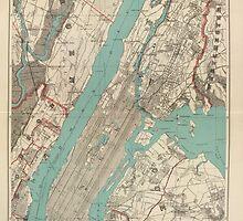 Vintage Map of New York City (1890) by BravuraMedia