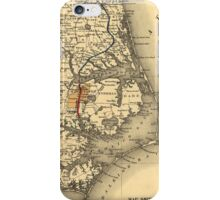 Vintage Map of The North Carolina Coast (1887) iPhone Case/Skin