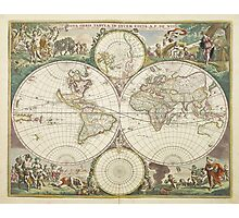 Vintage Map of The World (1680) Photographic Print
