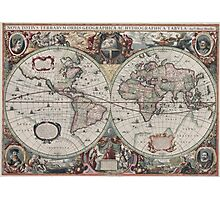 Vintage Map of The World (1630) Photographic Print