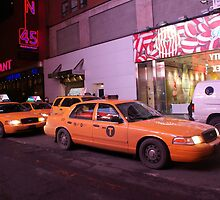 New York Times Square taxi greeting card by Rebecca  Lindsey