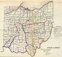 Vintage Map of Ohio (1866)  by BravuraMedia