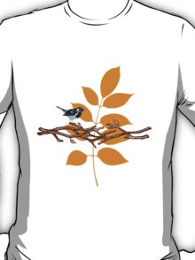 Blue Bird On Branch With Leaf T-Shirt