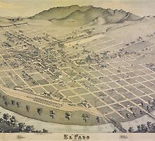 Vintage Pictorial Map of El Paso Texas (1886)  by BravuraMedia