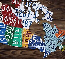Map of Canada Map Made from License Plates - Dark Walnut by Route401