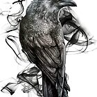 crow gothic bird raven realism drawing sketch tattoo by RISHAMA