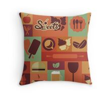 Food Icons Throw Pillow