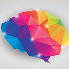 Abstract geometric human brain, triangles, creativity by BlueLela