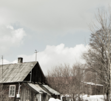 dilapidated wooden house cottage in winter  Sticker