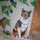 Calico Cat painting and part of Spankypants by redqueenself