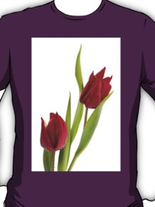 Two red tulip heads and green leaves T-Shirt