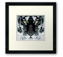 Geometric polygon white tiger head, triangle pattern design Framed Print