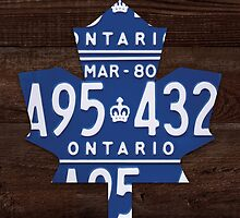 Toronto Maple Leafs License Plate Art Print - Dark Stain by Route401