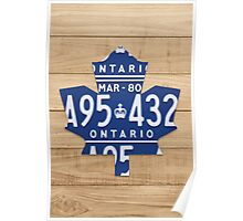 Toronto Maple Leafs Rustic Art Made from License Plates - Natural Poster