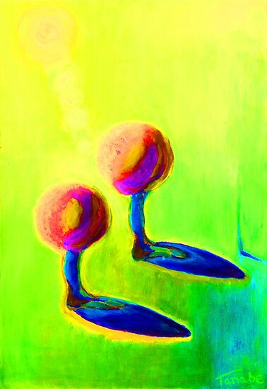 Abstract fantasy painting in vibrant hot colours by tanabe
