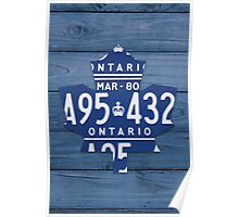 Toronto Maple Leafs Vintage Art with License Plates - Blue Poster