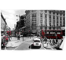 London - Black, White and Red Poster