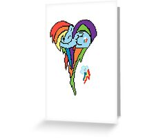 Rainbow Dash Pixel Art Heart Greeting Card