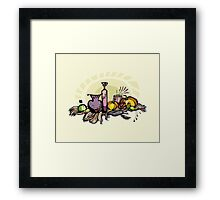Still life with pumpkin, pear and grapes Framed Print