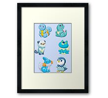 Pokemon Starters - Water Types Framed Print