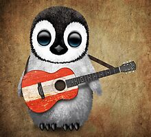 Baby Penguin Playing Austrian Flag Guitar by Jeff Bartels