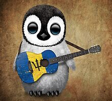 Baby Penguin Playing Barbados Flag Guitar by Jeff Bartels