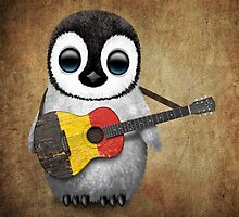 Baby Penguin Playing Belgian Flag Guitar by Jeff Bartels