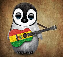 Baby Penguin Playing Bolivian Flag Guitar by Jeff Bartels