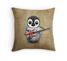 Baby Penguin Playing British Flag Guitar Throw Pillow