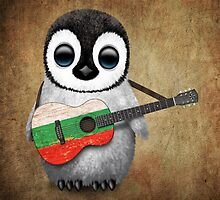 Baby Penguin Playing Bulgarian Flag Guitar by Jeff Bartels