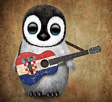 Baby Penguin Playing Croatian Flag Guitar by Jeff Bartels