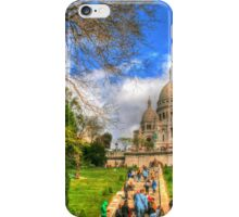 Sacre Couer with greenery .. HDR iPhone Case/Skin
