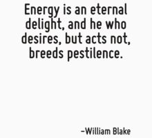 Energy is an eternal delight, and he who desires, but acts not, breeds pestilence. by Quotr