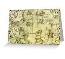 Sea Monsters Map Greeting Card