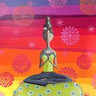 Zen Girl Under Rainbow Sky - Colorful Yoga Art by erica lubee  ~ SkyBlueWithDaisies